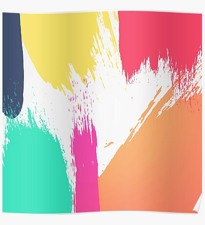 Multi-Colored Paint Brushstrokes  Poster