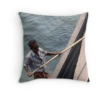 The boatman & the pole Throw Pillow