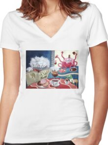 Yeti and Morning Coffee Women's Fitted V-Neck T-Shirt