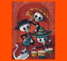 Dia de Los Muertos Skeleton Musicans Kids Tee