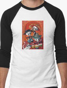 Dia de Los Muertos Skeleton Musicans Men's Baseball ¾ T-Shirt