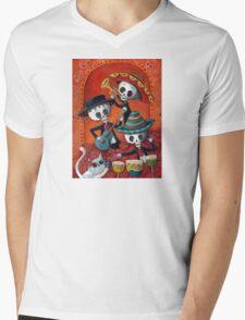 Dia de Los Muertos Skeleton Musicans Mens V-Neck T-Shirt