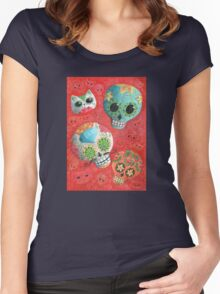 Colourful Sugar Skulls Women's Fitted Scoop T-Shirt