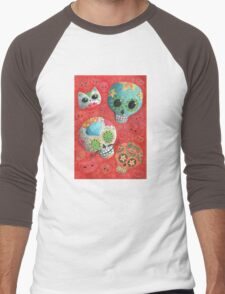 Colourful Sugar Skulls Men's Baseball ¾ T-Shirt
