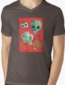 Colourful Sugar Skulls Mens V-Neck T-Shirt