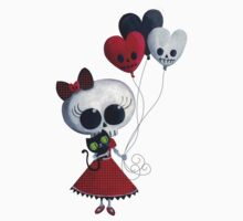 Halloween Little Miss Death with Balloons One Piece - Short Sleeve