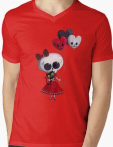Halloween Little Miss Death with Balloons Mens V-Neck T-Shirt