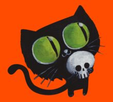 Black Halloween Cat with Skull Kids Clothes