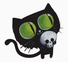 Black Halloween Cat with Skull Kids Tee