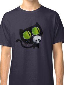 Black Halloween Cat with Skull Classic T-Shirt