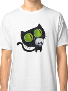 Black Halloween Cat with Skull Classic T-Shirt