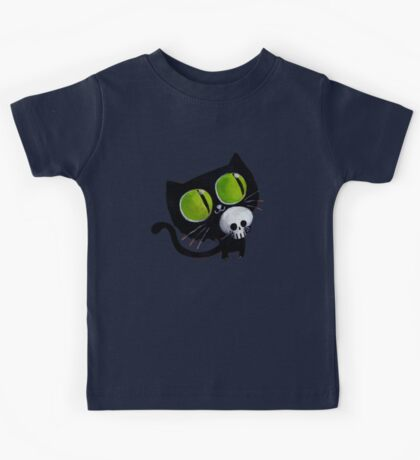 Black Halloween Cat with Skull Kids Tee