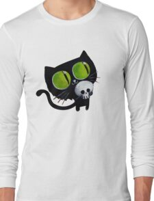 Black Halloween Cat with Skull Long Sleeve T-Shirt