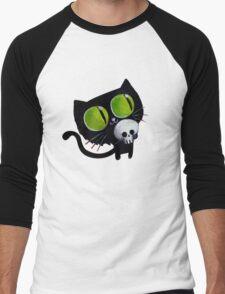 Black Halloween Cat with Skull Men's Baseball ¾ T-Shirt