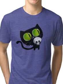 Black Halloween Cat with Skull Tri-blend T-Shirt