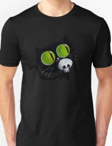 Black Halloween Cat with Skull Unisex T-Shirt