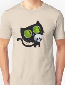 Black Halloween Cat with Skull T-Shirt