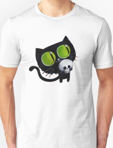 Black Halloween Cat with Skull T-Shirt