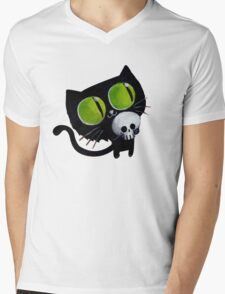 Black Halloween Cat with Skull Mens V-Neck T-Shirt