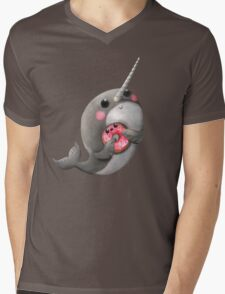 Cute Narwhal with donut Mens V-Neck T-Shirt