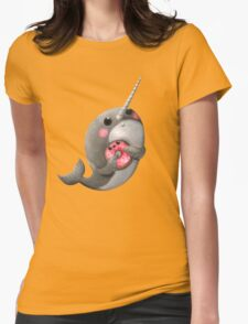 Cute Narwhal with donut Womens Fitted T-Shirt