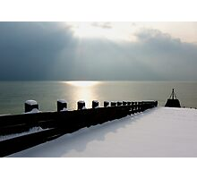 Snow covered Jetty Photographic Print