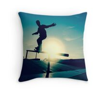 Skateboarder silhouette on a grind Throw Pillow