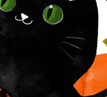 Black Halloween Kitty Cat Sticker