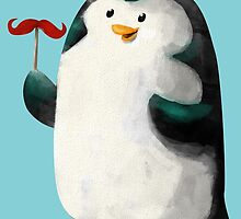 Fancy Penguin with Mustaches on the stick by colonelle