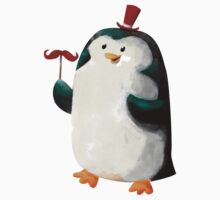 Fancy Penguin with Mustaches on the stick One Piece - Short Sleeve