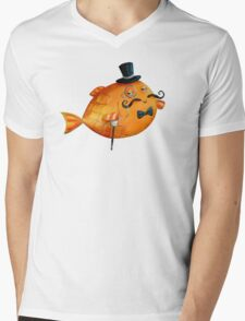 Sir Fish with Mustaches Mens V-Neck T-Shirt