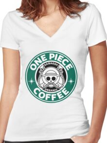 One Piece Coffee Women's Fitted V-Neck T-Shirt