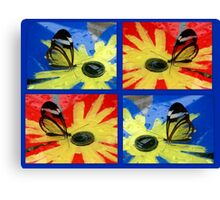 Glasswing on Red Yellow and Blue Canvas Print