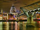St Paul`s Catherderal and Millennium Footbridge - Night - HDR by Colin J Williams Photography