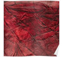 Red leather texture closeup Poster