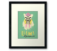 Llama drama Framed Print