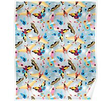 pattern multicolored butterflies Poster