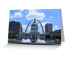 The Old Court House Framed by the Gateway Arch Greeting Card