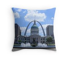 The Old Court House Framed by the Gateway Arch Throw Pillow