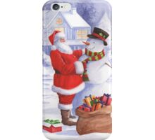 Santa giving snowman his Christmas gift iPhone Case/Skin