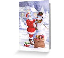 Santa giving snowman his Christmas gift Greeting Card