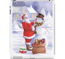 Santa giving snowman his Christmas gift iPad Case/Skin