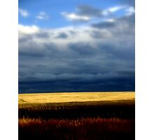 A stormy day over golden wheat Fields Photographic Print
