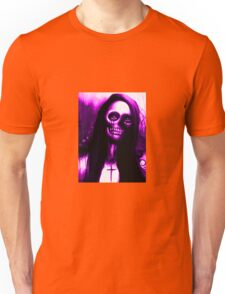 """Purple Day of the Dead Skeleton Woman """"Under the Moon"""" by Artist VCalderon Unisex T-Shirt"""