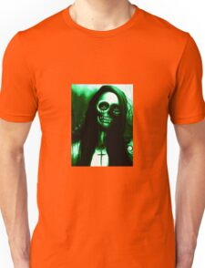 """Green Day of the Dead Skeleton Woman """"Under the Moon"""" by Artist VCalderon Unisex T-Shirt"""