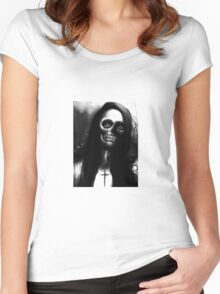 """Black and White Skeleton Woman """"Under the Moon"""" by Artist VCalderon Women's Fitted Scoop T-Shirt"""