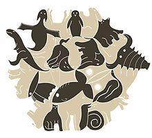 Hexagon Zoo in Sepia by Thomas van Dijk