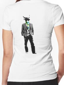 Cow Head on white Women's Fitted V-Neck T-Shirt