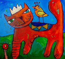 Ginger and the Lovebird 1 by ART PRINTS ONLINE         by artist SARA  CATENA