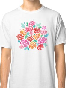 Peony & Roses on White Classic T-Shirt